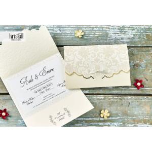 Invitatie de nunta eleganta cu fundita 70344 KRISTAL
