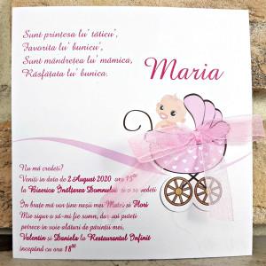 Invitatie de botez roz cu carucior fetita 8021 SEDEF