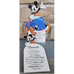 Invitatie de botez Mickey Mouse cu masinuta 8037 SEDEF