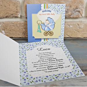 Invitatie de botez albastra cu carucior 8038 SEDEF