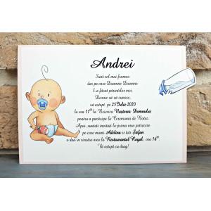 Invitatie de botez glisanta bebelus cu biberon 8040 SEDEF