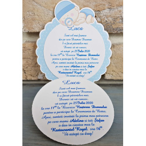 Invitatie de botez baieti in forma de floare 8041 SEDEF