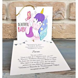 Invitatie de botez cu unicorn colorat 8049 SEDEF