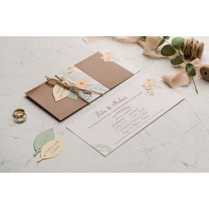 Invitatie de nunta boho cu frunzulite 9121 EKONOM