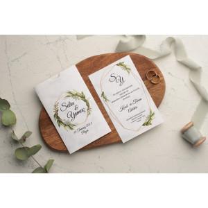 Invitatie de nunta cu frunze 9182 EKONOM