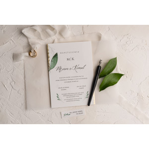 Invitatie de nunta cu frunze si calc 9206 EKONOM