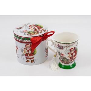 Cana Ceramica In Cutie Cadou Mos Craciun Ursuleti CAN016