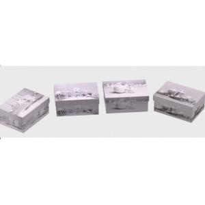 Cutie Carton Dreptunghiulara Gri Craciun 12/Se CTC165