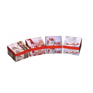 Cutie Carton Dreptunghiulara Gri Craciun 12/Se CTC166