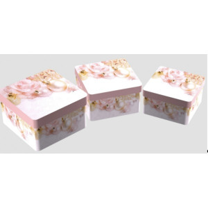 Cutie Carton Patrata Roz Craciun 3/Set CTC176