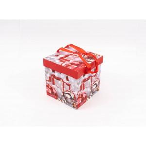 Cutie Carton Patrata Rosu-Gri Mos, Glob CTC157