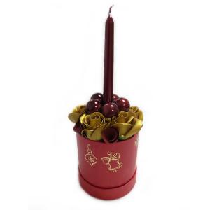 Aranjament Cadou Craciun cu Flori Parfumate de Sapun si Lumanare DEC140