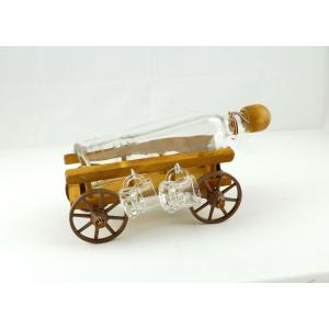 Suport din lemn pentru sticla si pahare Caruta ES3387