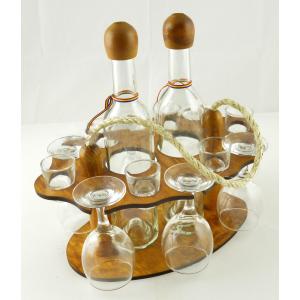 Suport din lemn pentru 2 sticle si 12 pahare ES3462
