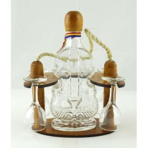 Suport din lemn pentru sticla Vioara si 4 pahare ES3465