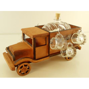 Suport din lemn pentru sticla si pahare Camion ES3492