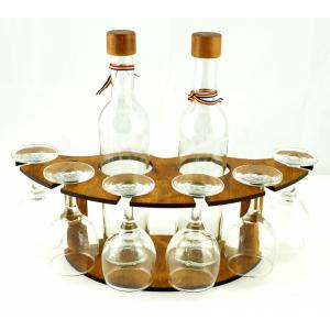 Suport din lemn pentru 2 sticle si pahare ES3494