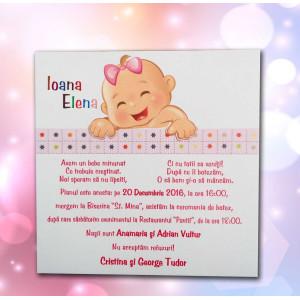 Invitatie de botez roz cu fetita 122 LARA BABY - BEST