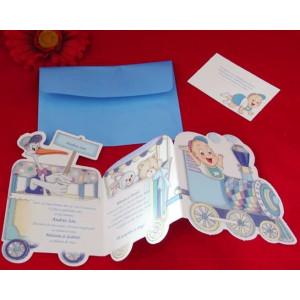 Invitatie de botez trenulet albastru 15209