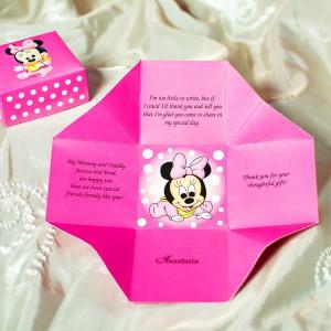 Invitatie de botez cutiuta roz cu Minnie Mouse 3621B