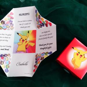 Invitatie de botez cutie cu Pikachu