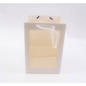 Punga cadouri cartonata cu fereastra 30x20x16 cm alba PNG015