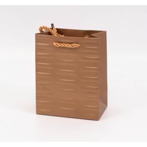 Punga cadouri cartonata 23x18x10 cm cu dungi aurie PNG077
