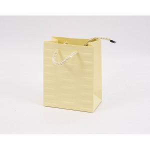 Punga cadouri cartonata 15x12x7 cm cu dungi crem PNG085