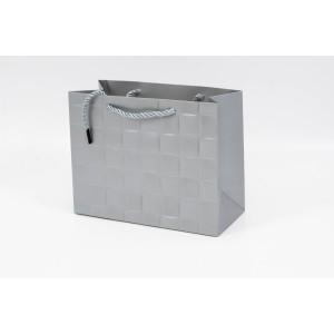 Punga Cadouri Cartonata 13x17x7 cm cu Patratele Argintie PNG100