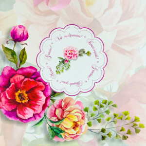 Punga nunta PREMIUM model floral cu bujori PT 24