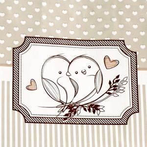 Punga nunta cu dungulite, inimioare si porumbei PN 12001