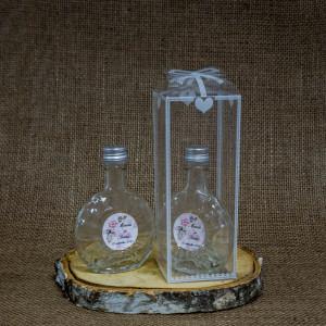 Sticla Marturii 100 ml Ploscuta Pachet Cadou Bujori