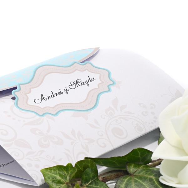 Invitatie de nunta turquoise cu model beige 115433 TBZ