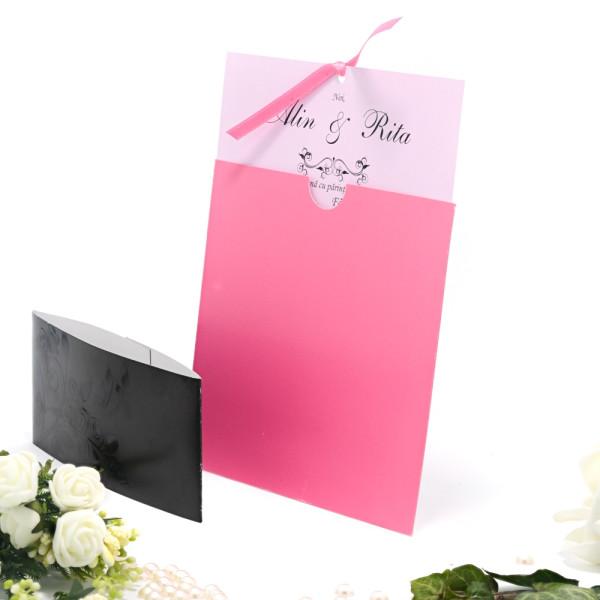 Invitatie de nunta roz cu tema florala 115435 TBZ