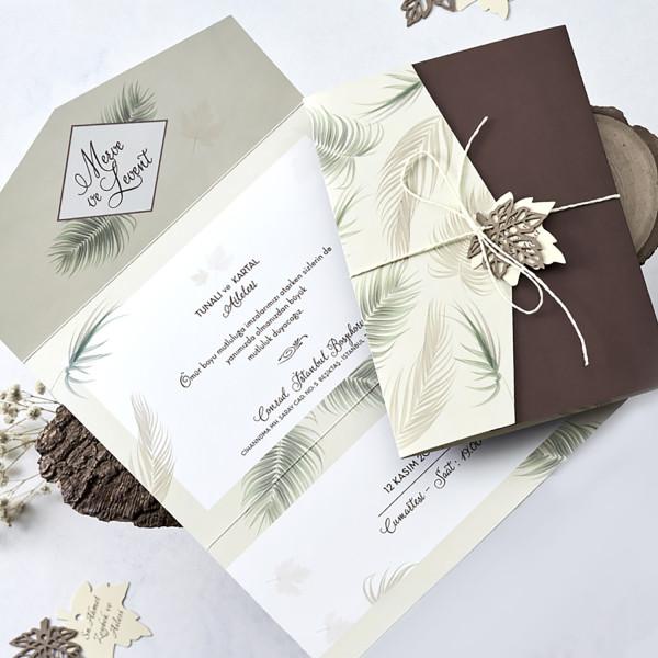 Invitatie de nunta cu frunze 1177 BUTIQLINE