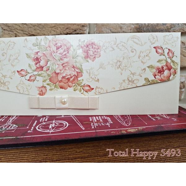 Invitatie de nunta florala cu fundita si perla 5493 CONCEPT