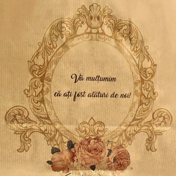 Punga nunta natur cu model floral vintage PN 10028