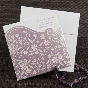 Invitatie de nunta sidefata cu flori in relief 1101 STYLISH