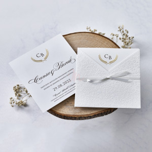 Invitatie de nunta cu dantela si fundita 1165 BUTIQLINE