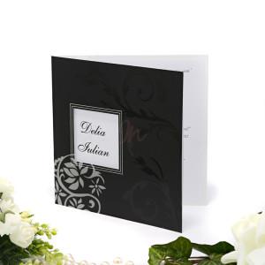 Invitatie de nunta florala alb si negru 160035 TBZ