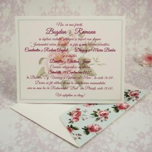 Invitatie de nunta romantica cu trandafiri 20200 STYLISH