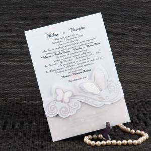 Invitatie de nunta alba cu fluturasi 3D 20415 STYLISH