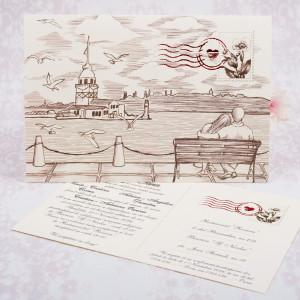 Invitatie de nunta carte postala  cu plic 2180 STYLISH