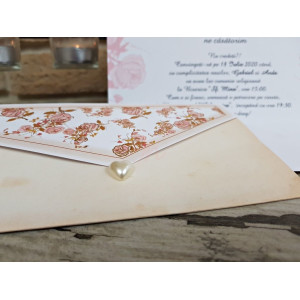 Invitatie de nunta florala cu perla 2778 POPULAR