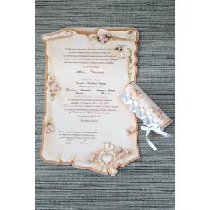 Invitatie de nunta papirus crem cu floricele roz 20475 Polen