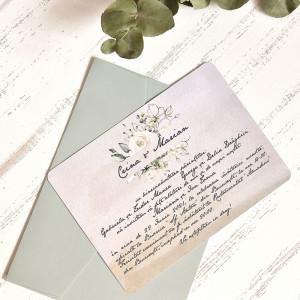 Invitatie de nunta vintage cu flori albe 39782 ECONOMIQ