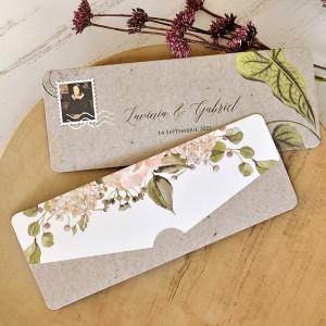 Invitatie de nunta moderna florala 39762 ECONOMIQ