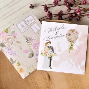 Invitatie de nunta romantica travel 39773 ECONOMIQ