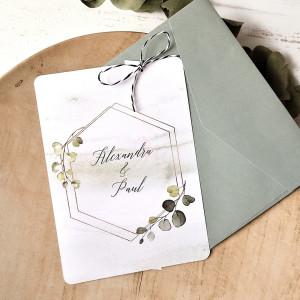 Invitatie de nunta moderna cu frunzulite 39784 ECONOMIQ