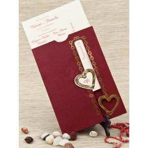 Invitatie de nunta visinie cu inimioare aurii 5208 STYLISH